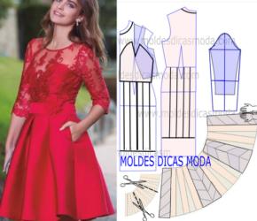 Моделирование платья с отрезной юбкой в складку на основе платья-футляра