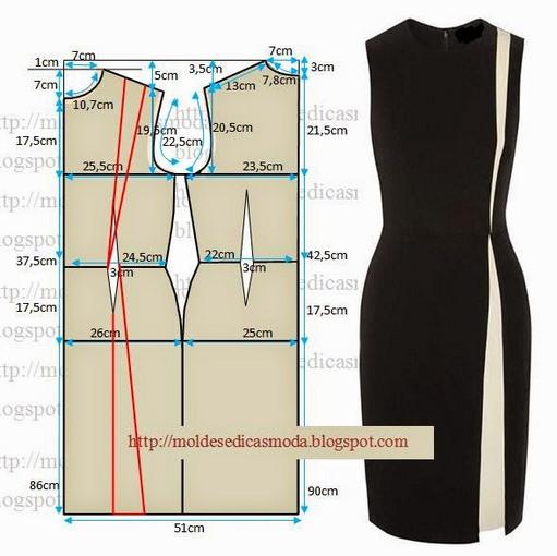 Чертеж выкройки платья-футляр для 40 размера