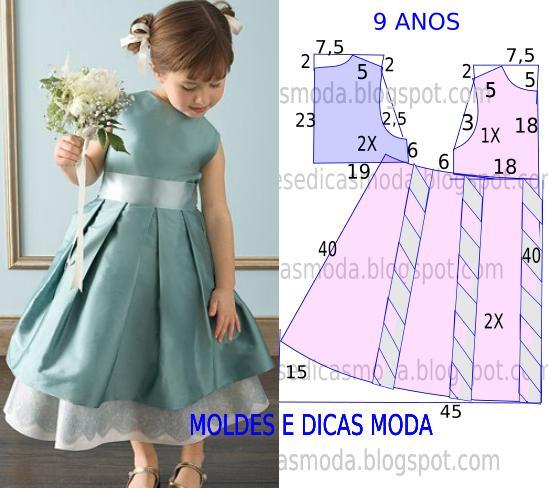 Выкройка: пышное платье для девочки с юбкой в складку