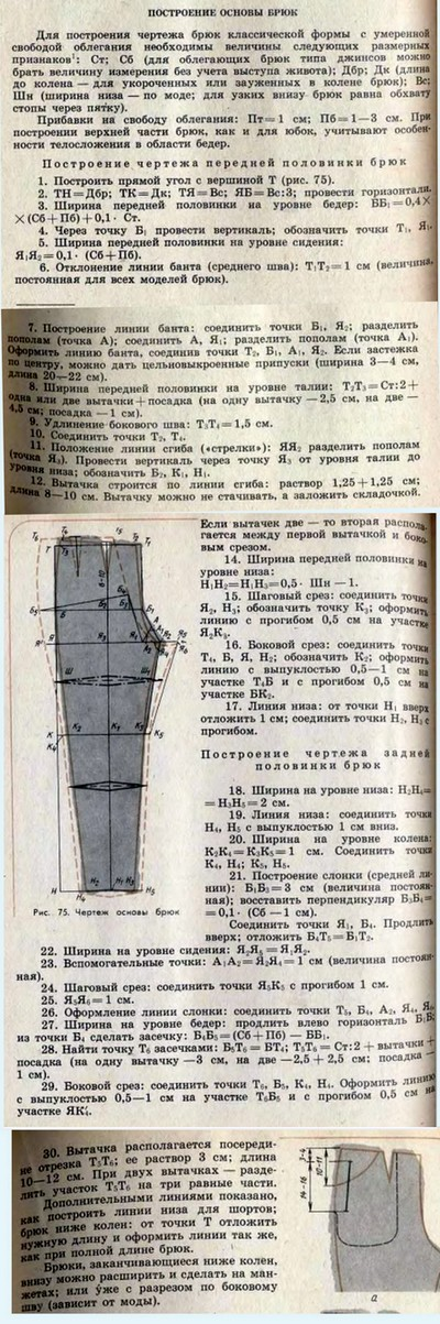 Как построить выкройку брюк