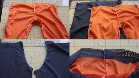 Детали штанишек: оранжевая - подкладка, темная - лиц. сторона