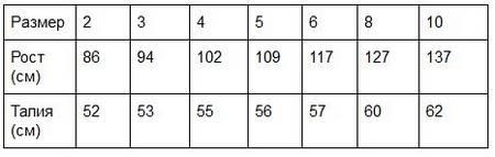Таблица размеров детских спортивных брюк
