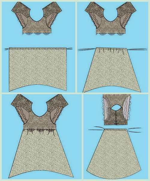 Пришиваем переднюю, а затем заднюю части юбки к лифу
