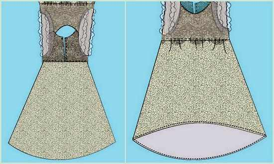 Прокладываем боковые швы и делаем подгибку низа