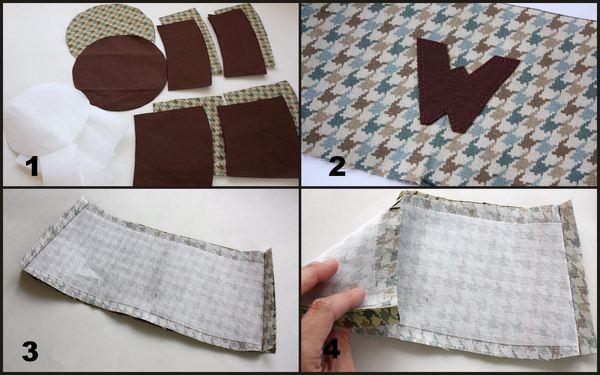 Вырезаем детали, пришиваем аппликацию, сшивает тулью